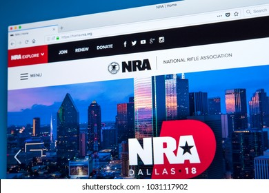 LONDON, UK - FEBRUARY 22ND 2018: The homepage of the official website for the National Rifle Association - the NRA is a US nonprofit organization that advocates for gun rights, on 22nd February 2018.
