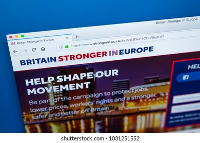 LONDON, UK - FEBRUARY 22ND 2018: The homepage of the Website for Britain Stronger in Europe -an advocacy group that campaigned for the UK to continue their membership of the EU, on 22nd February 2018.