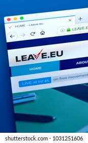 LONDON, UK - FEBRUARY 22ND 2018: The homepage of the official Website for Leave.EU - an organisation that campaigned for Brexit in the 2016 EU Referendum, on 22nd February 2018.