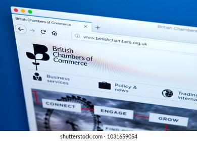 LONDON, UK - FEBRUARY 22ND 2018: The homepage of the Website of the British Chambers of Commerce- the national representative body of Accredited Chambers of Commerce across the UK, on 22nd Feb 2018.