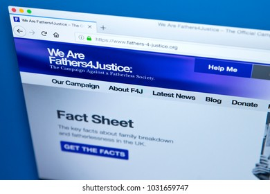 LONDON, UK - FEBRUARY 22ND 2018: The homepage of the official Website of Fathers4Justice - the fathers rights organisation in the United Kingdom, on 22nd February 2018.