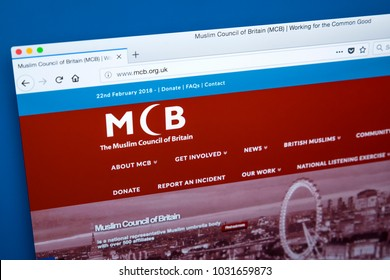 LONDON, UK - FEBRUARY 22ND 2018: The homepage of the official Website for the Muslim Council of Britain - a body for 500 schools, mosques and associations in Britain, on 22nd February 2018.