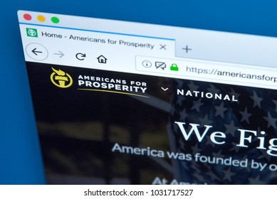 LONDON, UK - FEBRUARY 22ND 2018: The homepage of the official website for Americans for Prosperity - a conservative political advocacy group in the United States, on 22nd February 2018.