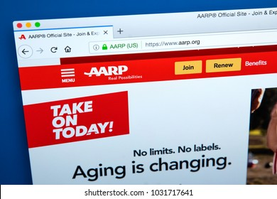LONDON, UK - FEBRUARY 22ND 2018: The homepage of the official website for the American Association of Retired Persons - an interest group that focuses on the elderly, on 22nd February 2018.