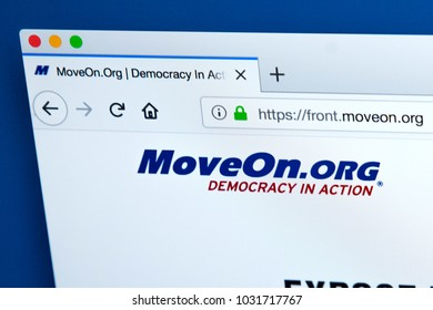 LONDON, UK - FEBRUARY 22ND 2018: The homepage of the official website for MoveOn.org - the American progressive policy advocacy group and political action committee, on 22nd February 2018.