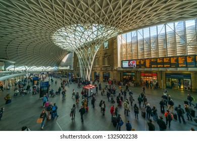 LONDON, UK - FEBRUARY 23, 2019: Commuters in Kings Cross station, one of the busiest railway stations in the UK and the southern terminus of the East Coast Main Line to North East England and Scotland