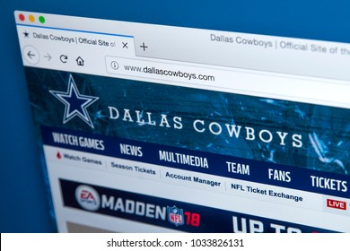 LONDON, UK - FEBRUARY 24TH 2018: The homepage of the official website for the Dallas Cowboys - the American football team, on 24th February 2018.