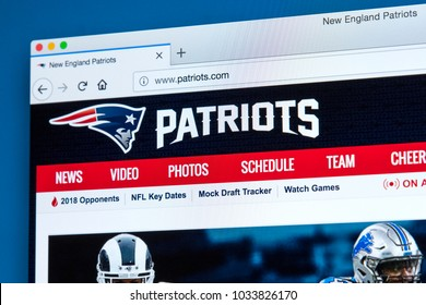 LONDON, UK - FEBRUARY 24TH 2018: The homepage of the official website for the New England Patriots - the American football team, on 24th February 2018.