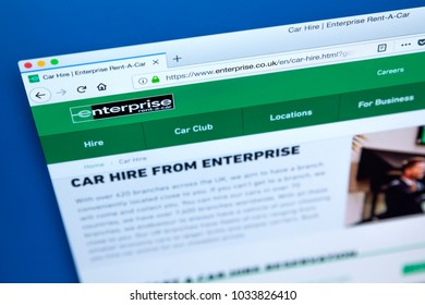LONDON, UK - FEBRUARY 24TH 2018: The homepage of the official website for Enetrprise - the American car rental company, on 24th February 2018.
