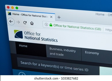 LONDON, UK - FEBRUARY 24TH 2018: The homepage of the official website for the Office for National Statistics - the executive office of the UK Statistics Authority, on 24th February 2018.