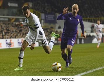 LONDON, UK - FEBRUARY 25, 2016: Dele Alli of Tottenham and Borja Valero of Fiorentina pictured during the UEFA Europa League last 32 game between Tottenham Hotspur and Fiorentina on White Hart Lane.