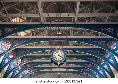 LONDON, UK - FEBRUARY 25, 2018: the cast iron roof arches of the Grand Avenue at the centre of the historic Smithfield Market building, designed by Sir Horace Jones.