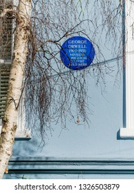 London, UK - February 26 2019: The house where lived George Orwell (1930 - 1950), novellist, political, journalist and writer, in Portobello Road W11