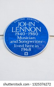 London, UK - February 26th 2019: A blue plaque on Montagu Square in London, marking the location where music legend John Lennon once lived.