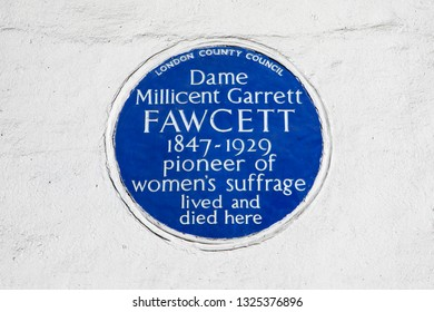 London, UK - February 26th 2019: A blue plaque on Gower Street in London, marking the location where suffragette Dame Millicent Fawcett lived and died.