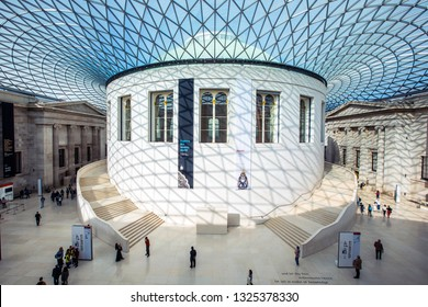 London, UK - February 26th 2019: A view of the impressive Great Court and glass ceiling in the British Museum in London.