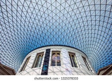 London, UK - February 26th 2019: A view of the impressive glass roof of the Great Court in the British Museum in London.