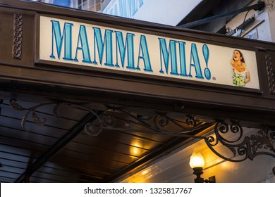 London, UK - February 26th 2019: The sign for Mamma Mia at the Novello Theatre in the West End, London, UK.