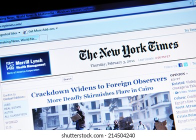 LONDON, UK - FEBRUARY 3, 2011: Close up of the electronic version of The New York Times on laptop screen (illustrative editorial)