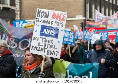 LONDON, UK - February 3rd 2018: Protesters and campaigners on a save the NHS march in central London