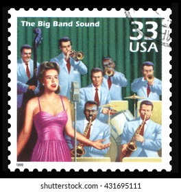 London, UK, February 5 2012 - Vintage 2002 United States of America cancelled postage stamp  showing an image of the 1940's Big Band music
