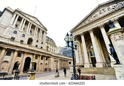 London, UK- February 5: The Royal Exchange and Bank of England in the City of London on February 5, 2017. The Royal Exchange and Bank of England are in the centre of financial district in London.