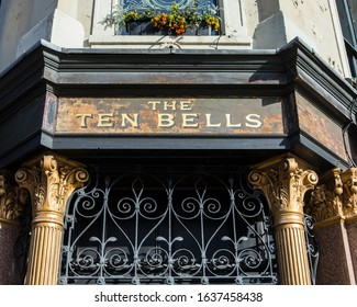 London, UK - February 5th 2020: The sign above the entrance to The Ten Bells public house in the Spitalfields area of London. It is famous for its association with two victims of Jack the Ripper.