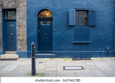 London, UK - February 5th 2020: Traditional old-fashioned facade of a building with an unusual door number in the Spitalfields area of London, UK.