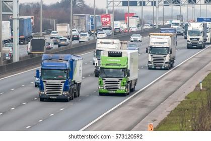 LONDON, UK - FEBRUARY 6, 2017: Rush hours on the British motorway M1