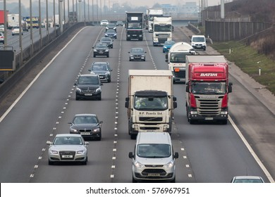 LONDON, UK - FEBRUARY 6, 2017: Afternoon traffic on the British motorway M1
