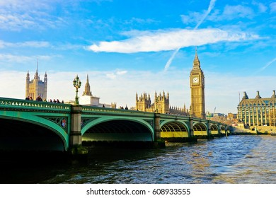 London, UK- February 6, 2017 : View of the Houses of Parliament and Westminster Bridge in London with lots of tourists passing through on February 6, 2017.