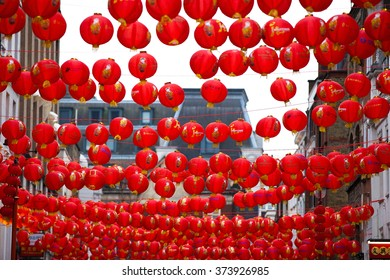 "London, UK. February 6th 2016. Chinatown in Leicester Square all set for the celebrations of Chinese New Year 2016 - The ""Year of the Monkey"", with colourful Chinese Lanterns decorated in the street."