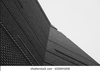 LONDON, UK - FEBRUARY 8, 2018: exterior of the Switch House extension to Tate Modern, designed by Herzog & de Meuron.