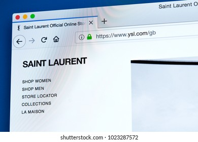 LONDON, UK - FEBRUARY 8TH 2018: The homepage of the official website for Yves Saint Laurent - the French luxury fashion house, on 8th February 2018.