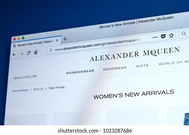 LONDON, UK - FEBRUARY 8TH 2018: The homepage of the official website for Alexander McQueen - the British fashion designer, on 8th February 2018.