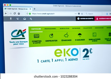 LONDON, UK - FEBRUARY 8TH 2018: The homepage of the official website for the Credit Agricole Group - the French network of cooperative and mutual banks, on 8th February 2018.
