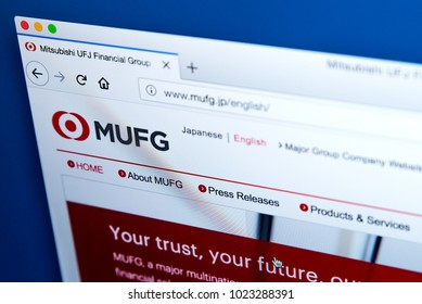 LONDON, UK - FEBRUARY 8TH 2018: The homepage of the official website for the Mitsubishi UFJ Financial Group - the Japanese bank holding/financial services company, on 8th February 2018.