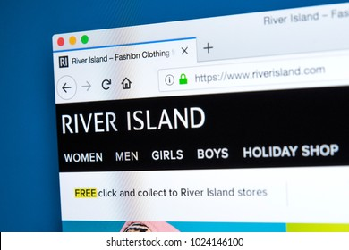 LONDON, UK - FEBRUARY 8TH 2018: The homepage of the official website for River Island - the high street fashion brand, on 8th February 2018.