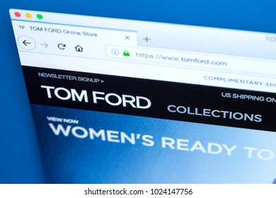 LONDON, UK - FEBRUARY 8TH 2018: The homepage of the official website for Tom Ford - the American fashion designer, on 8th February 2018.