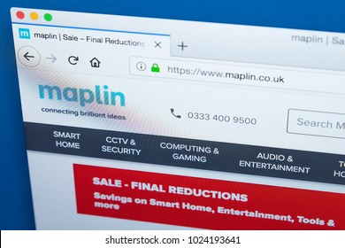 LONDON, UK - FEBRUARY 8TH 2018: The homepage of the official website for Maplin Electronics - the UK retailer of electronic goods, on 8th February 2018.