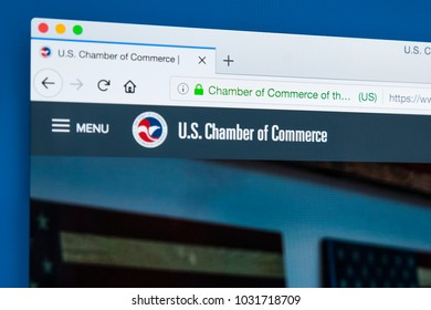 LONDON, UK - FEBRUARY 8TH 2018: The homepage of the website for the US Chamber of Commerce - a business-oriented American lobbying group, on 8th February 2018.