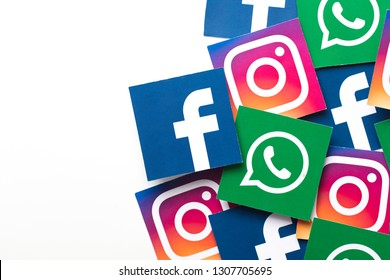 LONDON, UK - FEBRUARY 8th 2019: Facebook, Instagram and Whatsapp logos on paper.