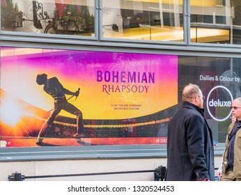 London, UK - Februrary 22 2019: The playbill of the Bohemian Rhapsody out side of the theater in the Soho district, Loondon, England, UK.
