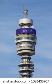 LONDON, UK - FENRUARY 16TH 2018: A view of the historic BT Tower, located in the Fitzrovia area of London in the UK, on 16th February 2018.