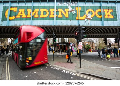 London, UK - gennary 03: view of Camden Lock sign in London, UK, on gennary 03, 2019. The sign marks the entrance to the Camden markets known for their vintage and alternative shopping