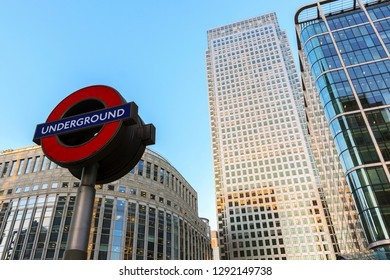 LONDON, UK - Gennary 5, 2019: Canary Wharf Underground station in front of business buildings shot