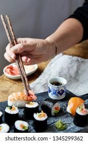 London, UK -  Hayley Benoit - February 5, 2019:  Sushi