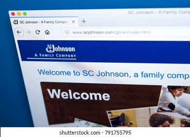 LONDON, UK - JAN 10TH 2018: The homepage of the official website for S. C. Johnson & Son - the American manufacturer of household cleaning supplies and other consumer chemicals, on 10th January 2018.