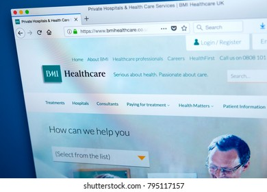 LONDON, UK - JAN 15TH 2018: The homepage of the official website for BMI Healthcare, on 15th January 2018. Its an independent provider of private healthcare, treating private patients and NHS Patients