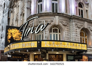 London, UK - Jan 16, 2020:  The front of the Aldwych Theatre hosting the play Tina in London's West End